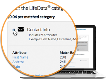 Step 3: Select the LifeData® categories to append to your file.